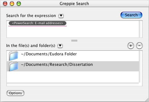 greppie search window